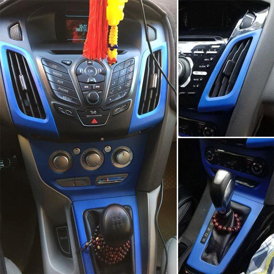 Pour Ford Focus 2012-2018 Poignée de porte de commande centrale d'intérieur 3D / 5D autocollants en fibre de carbone décalcomanies Accessoires de coiffure de voiture