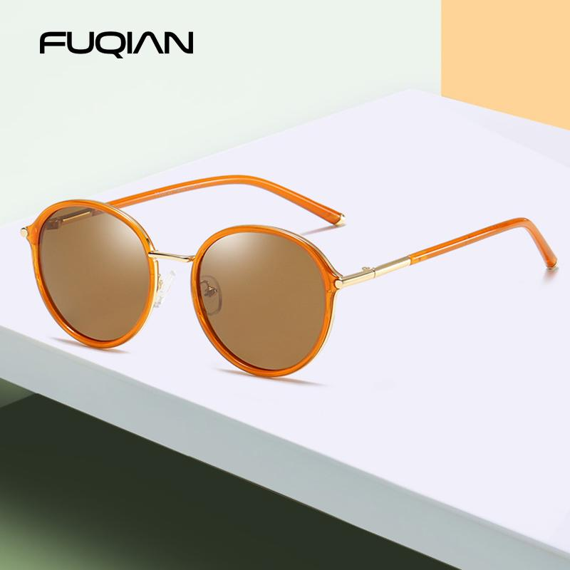 Fuqian 2020 New Luxury Rodada Mulheres óculos polarizados Brand Design Metal Frame das senhoras óculos de sol espelho rosa Eyewear Oculos