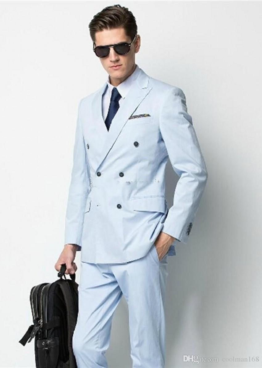 Light Grey Groom Tuxedos Double-Breasted Men Wedding Tuxedos Side Vent Jacket Blazer Popular Men Dinner/Darty Suit(Jacket+Pants+Tie) 1153