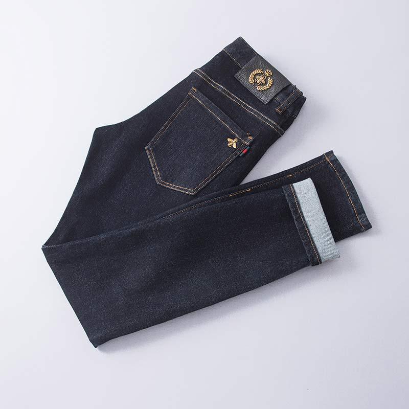 2020 мужские джинсы дизайнерские джинсы флис разрушенные разорван джинсовые брюки толстые горячие Проблемные мужские джинсы