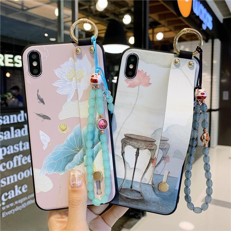 Chinesische Malerei Lotus Flower Sommer-Wasser-Lilien-Armband-Handy-Fall-Abdeckung für iphone 11 pro max 7 8 plus x xr