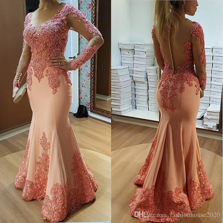 2019 Elegant Mermaid Evening Dresses Jewel Neck Lace Appliques Beads Sheer Button Back Plus Size Formal Evening Gowns Red Carpet Party Dress