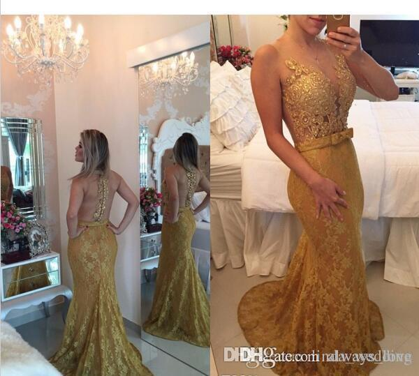 2019 Elegant Gold Lace Prom Dress Mermaid Long Illusion Formal Holidays Wear Graduation Evening Party Pageant Gown Custom Made Plus Size