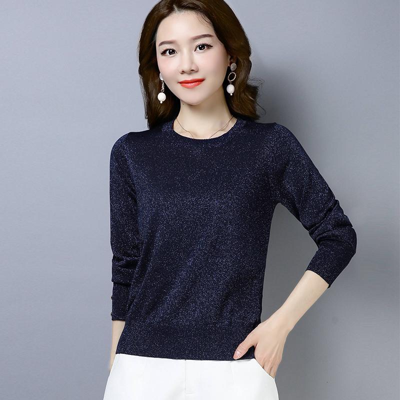 Сплошной цвет O-образным вырезом свитер Женщины 2019 осень и зима с длинным рукавом Пуловеры свитер Женская мода Трикотажные топы женщин
