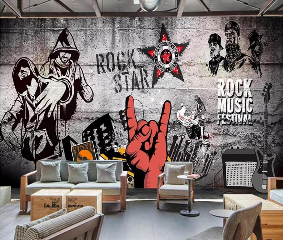 Carta da parati personalizzata CJSIR Murales europei e americani industriale rock Hip Hop Music Bar KTV Wall Background Papel De Parede 3d