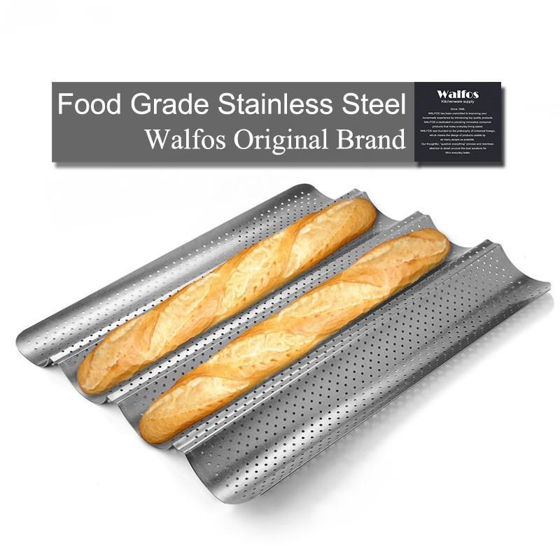 100% качества еды из углеродистой стали 4 Паз волна Французский хлеб Противень для багета Выпекать Mold Pan Выпечка инструменты