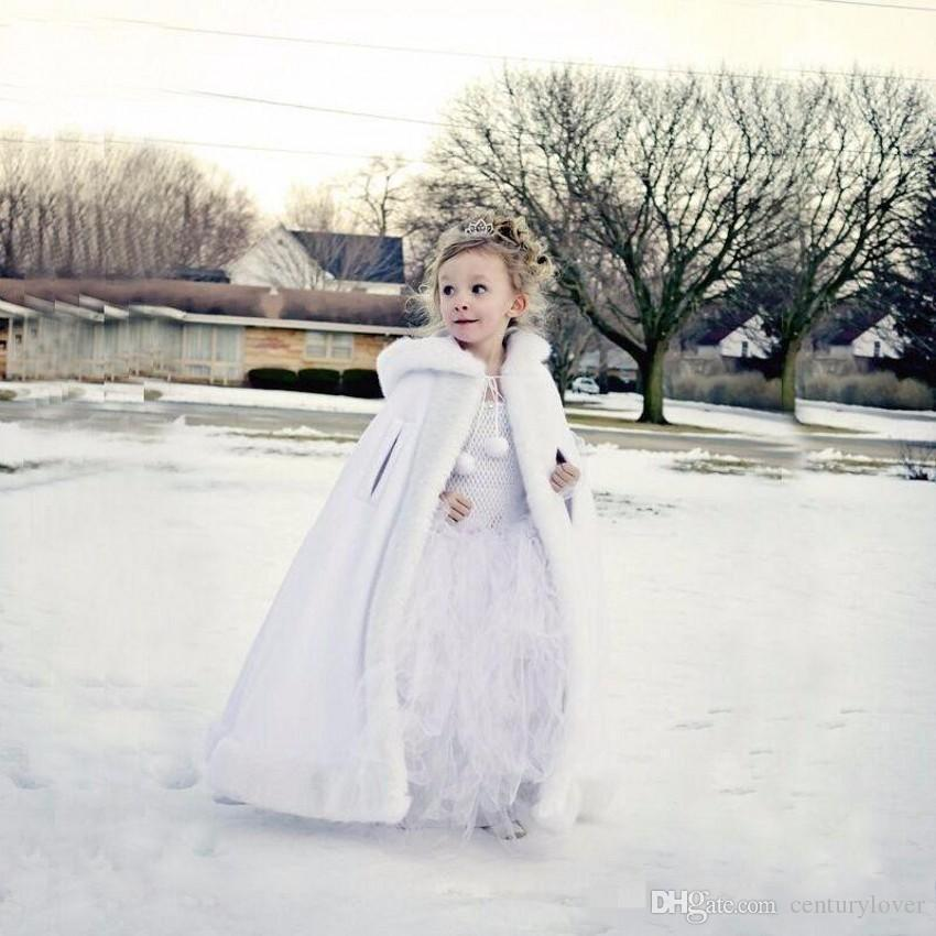 New Cheap Hooded Flowers Girls Cape For Wedding Cloaks Christmas White Ivory Faux Fur Winter Wedding Jacket Wraps Custom Made Free Shipping