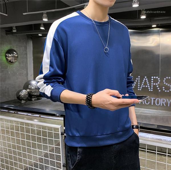 Diseñador adolescentes sloid color con cuello redondo de manga larga con capucha Hombres Fasghion ropa casual para hombre con paneles de rayas resorte de los Hoodies otoño