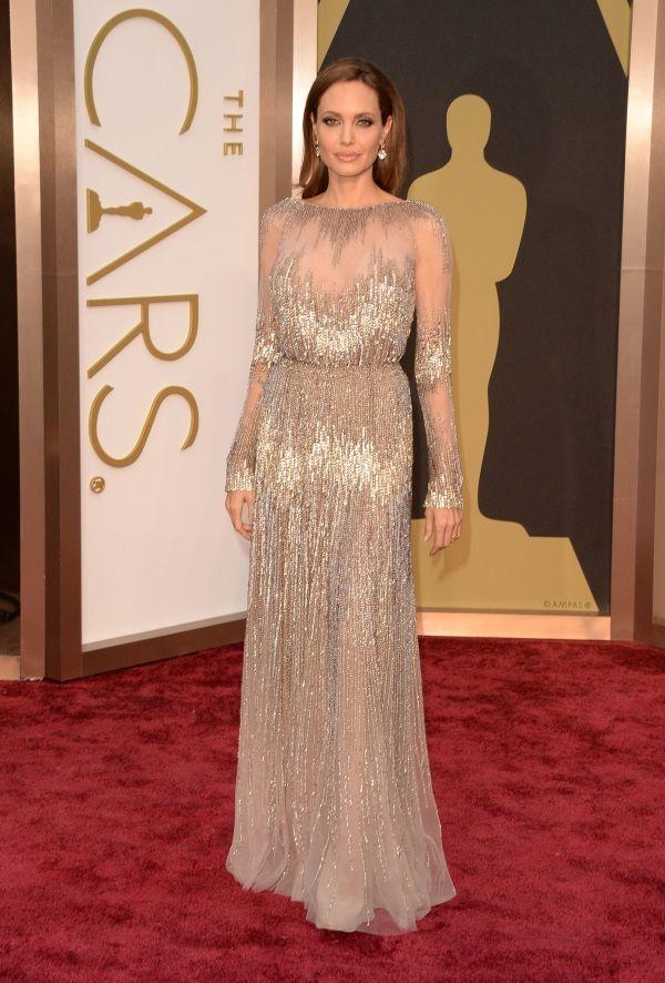 Abito da sera 2018 Oscar Premi Angelina Silver Crystals Abito lungo kim kardashian 0070