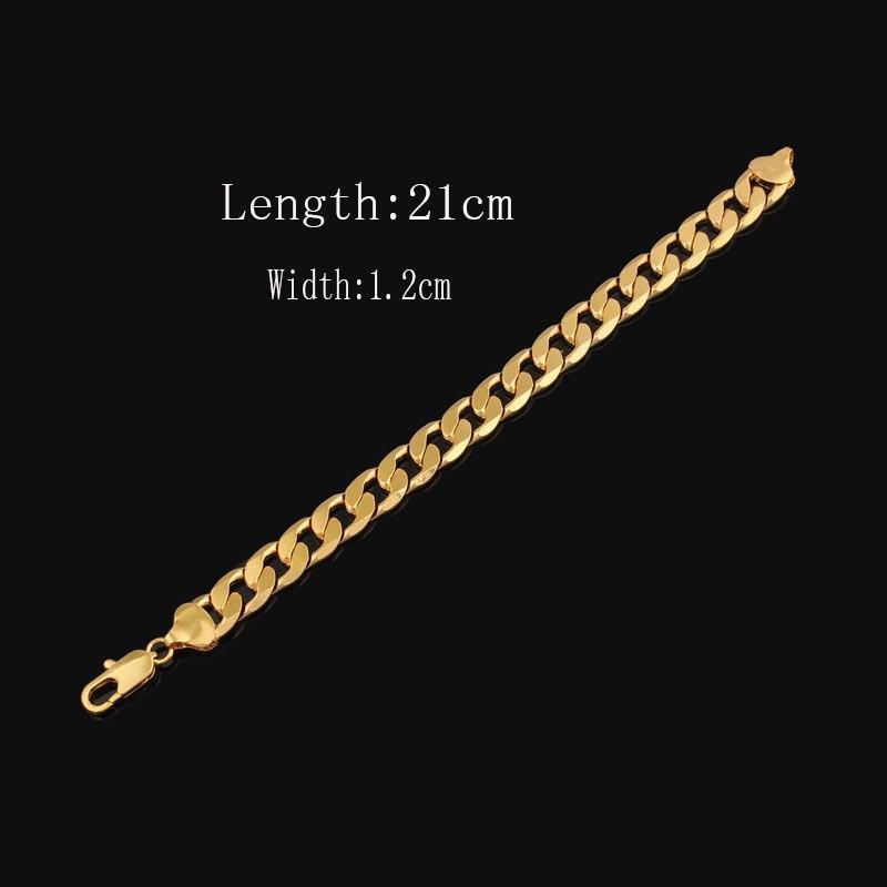 18 K 22 K 24 K Thai Baht Belle pieno d'oro 12 mm cubano (Curb) Catena BRACCIALE -CINA GARANZIA A VITA
