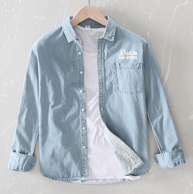 Denim hommes Chemise d'impression en vrac hommes Chemises à manches longues Casual Cowboy Jeans Wear Tops Printemps Mode Automne Robe Hommes XXXL