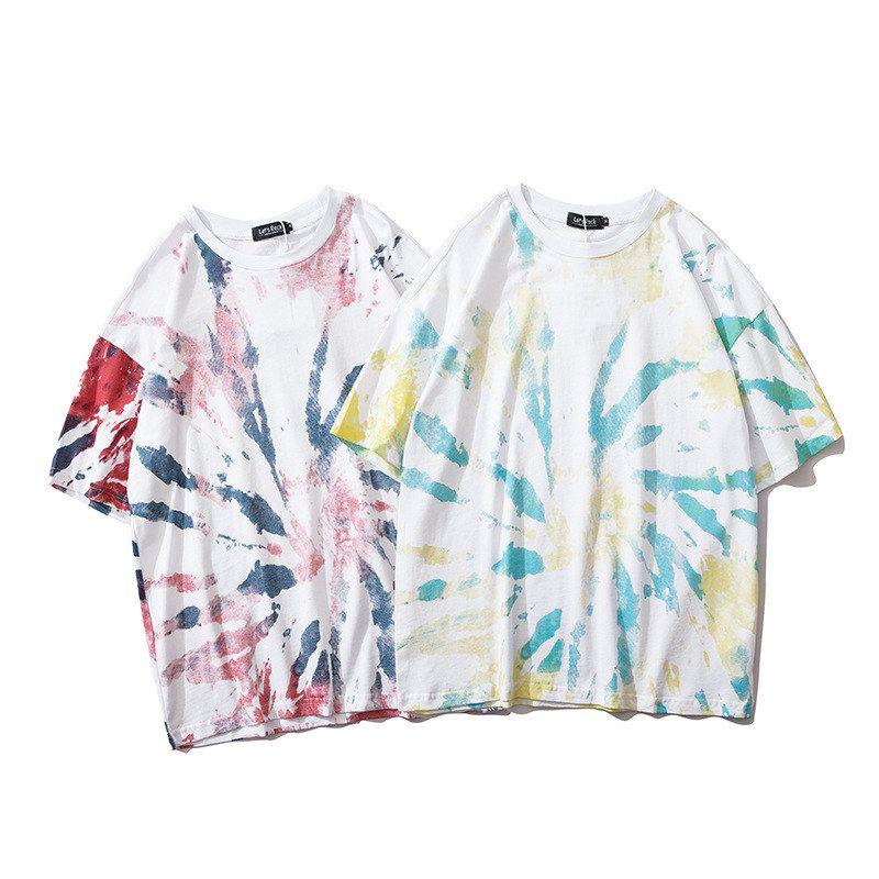 Mens Gradiente Lettera Stampa maglietta Moda Tie Dye manica corta girocollo Trend Tees Casual Male Top