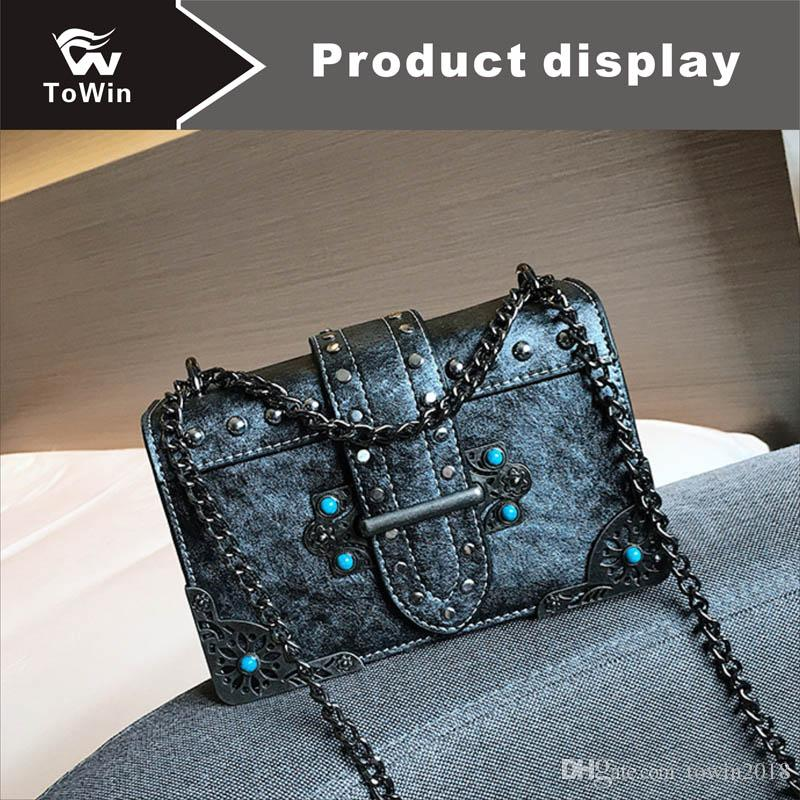 Brand Chain Handle Handbag High Quality PU Single Shoulder Bags Portable Women Sling Bag Wallet Casual Retro Flap Bag Hobo Bags Purse Tote