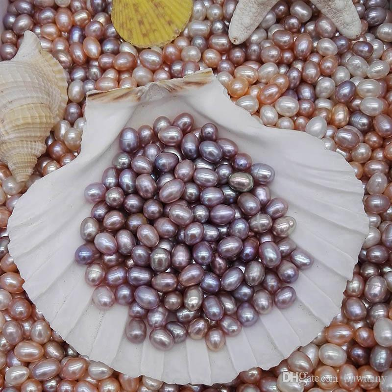 Natural Freshwater Pearls Oyster No Hole 6-7mm Bright Rice-shaped Loose Pearls Real Pearl Different Color Fashion Jewelry Wholesale 0913WH