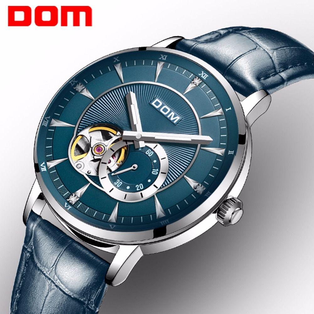 DOM Новый синий Мужская Скелет WristWatch Кожа Антикварные стимпанк Повседневный Автоматическая Скелет механические часы Мужской часы M-8104