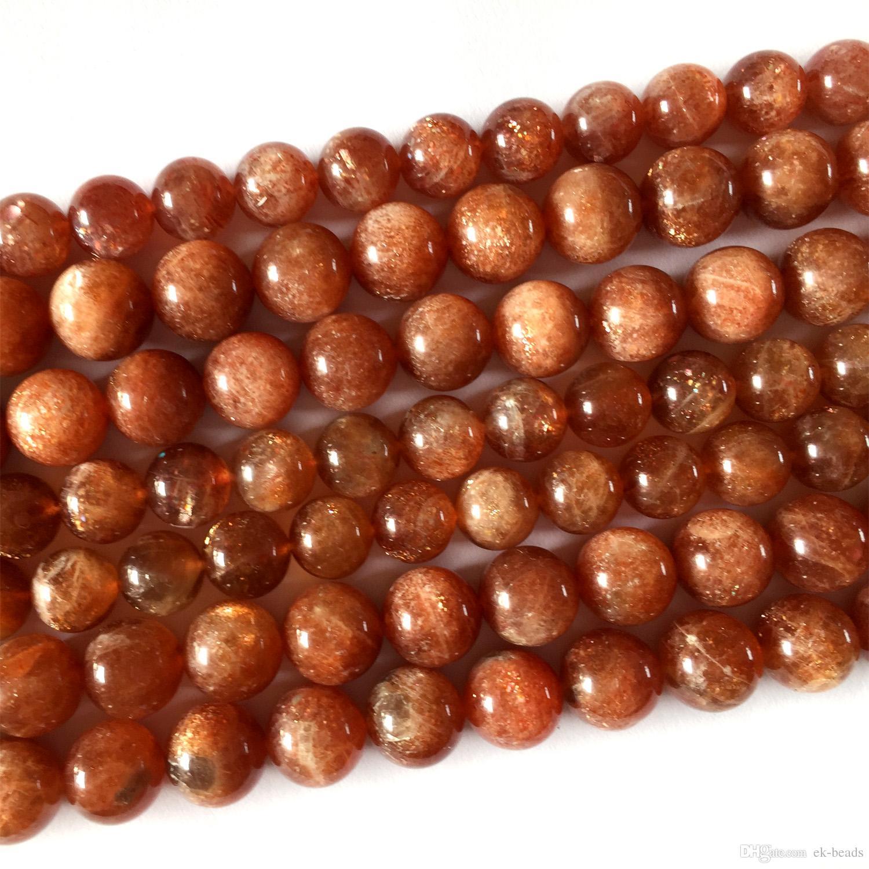"Wholesale Real Genuine Natural Orange Gold Sanidine Sunstone Round Loose DIY Necklace or Bracelets Beads 15.5"" 05922"