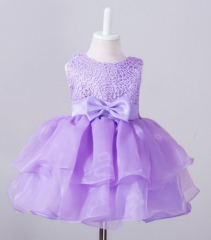 Gül Bebek Kız Giydirme Büyük Bow On The Bel ve Sırt Çocuklar Prenses Elbise Parti Düğün Örgün Etek