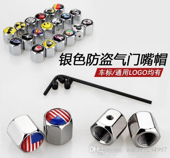 Car accessories Car Styling 4Pcs/Set Anti-Theft Dust Cap Tire valve caps With Car Logo Badges Emblems American flag wheel cap
