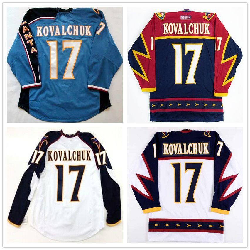 Custom Men's #17 Ilya Kovalchuk Vintage Atlanta Thrashers Blue CCM Hockey Jersey #36 Boulton #16 Hossa Stitched Logos embroidered Customized
