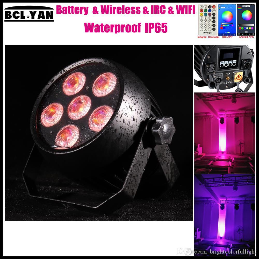 Factory price outdoor waterproof WIFI smart RGBWA UV 6 IN 1 LED battery powered Wireless dmx wall washer uplight for DJ 18W