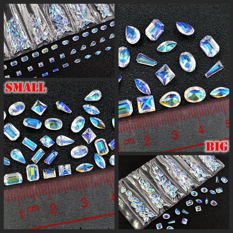 1 Pack Mélanger Formes Paillettes Effacer Carré Ovale Goutte Résine Multislice Diamant Gemmes Nail Art Strass Décorations Diy Conseils