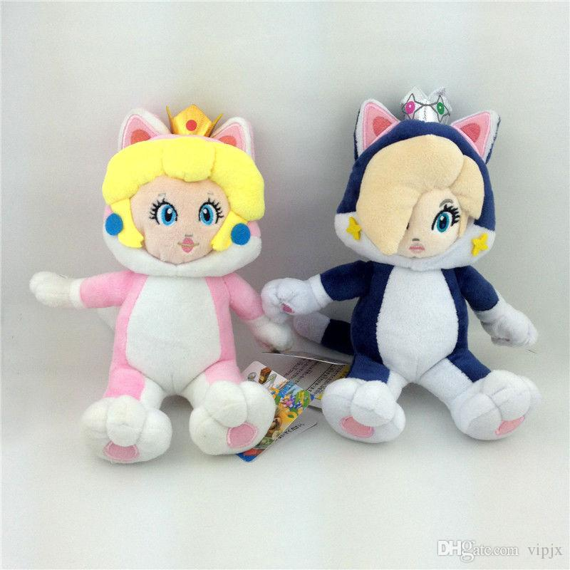 2Pcs Super Mario Bros World Cat Princess Peach Rosalina Soft Plush Toy Gift New