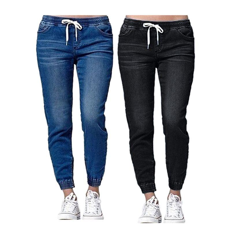 Новая осень карандаш джинсы Урожай высокой талией джинсы Женщины Сыпучие Джинсовые штаны Полная длина Брюки Сыпучие ковбойские штаны Плюс Размер 6xl