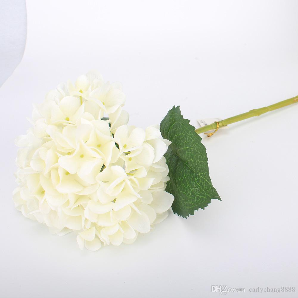 Artificielle Hydrangea Corolle 47cm Faux Silk Simple Real Touch Hortensias 8 couleurs pour mariage Accueil Centerpieces Party fleurs décoratives