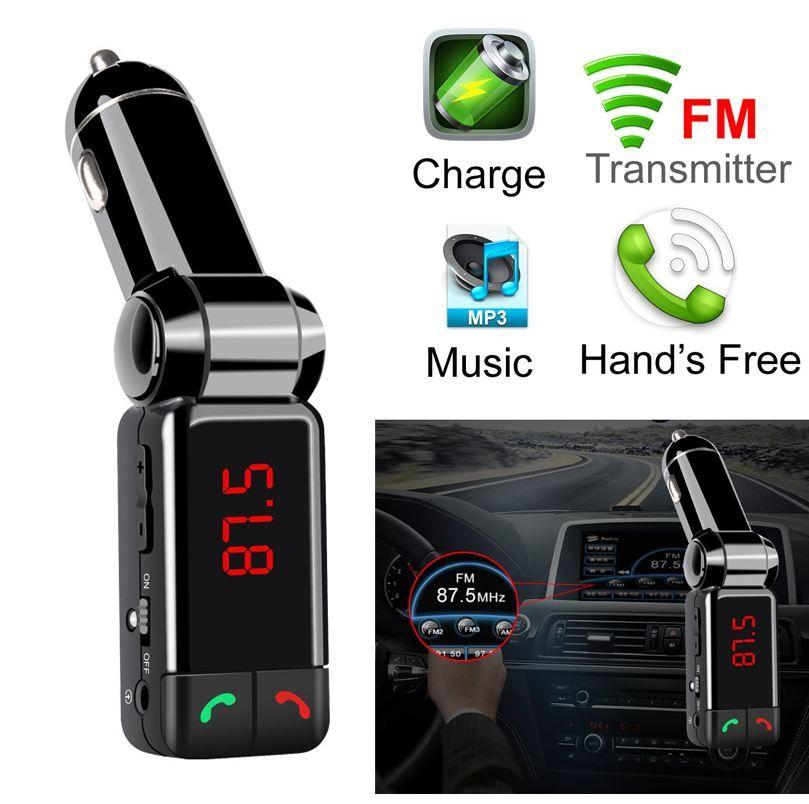 Car Bluetooth FM Transmitter حر اليدين طقم السيارة بلوتوث مشغل الصوت MP3 المشغل اللاسلكي شاحن USB forIphone Samsung Huawei (التجزئة)