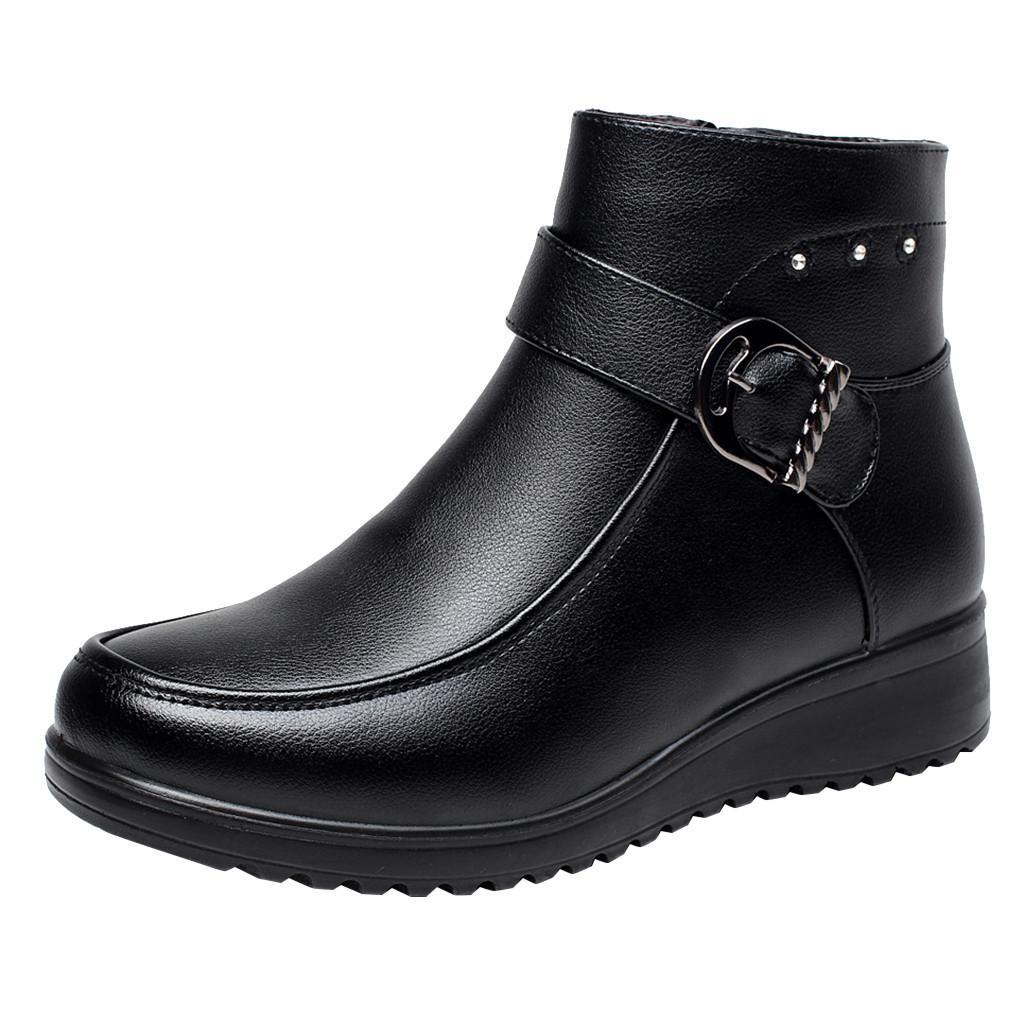 Zapatos de la mujer acuñan los cargadores de algodón botas cortas calientes del dedo del pie redondo Slip-en invierno Mujeres sólido damskie de la Mujer Buty otoño