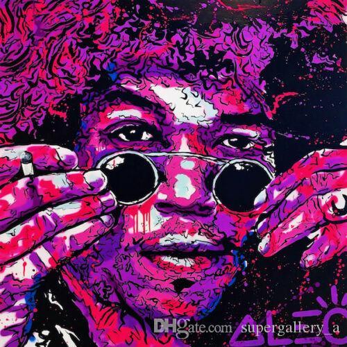 Alec Monopoly pintura a óleo sobre a arte de lona grafite Home Decor Jimi Hendrix Guitarrista Wall Art imagem de alta Quaity pintado à mão Impresso HD