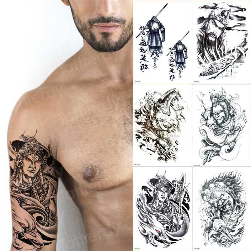 Temporary Tatoo Men Chinese Characters Arm Sleeve Tattoo