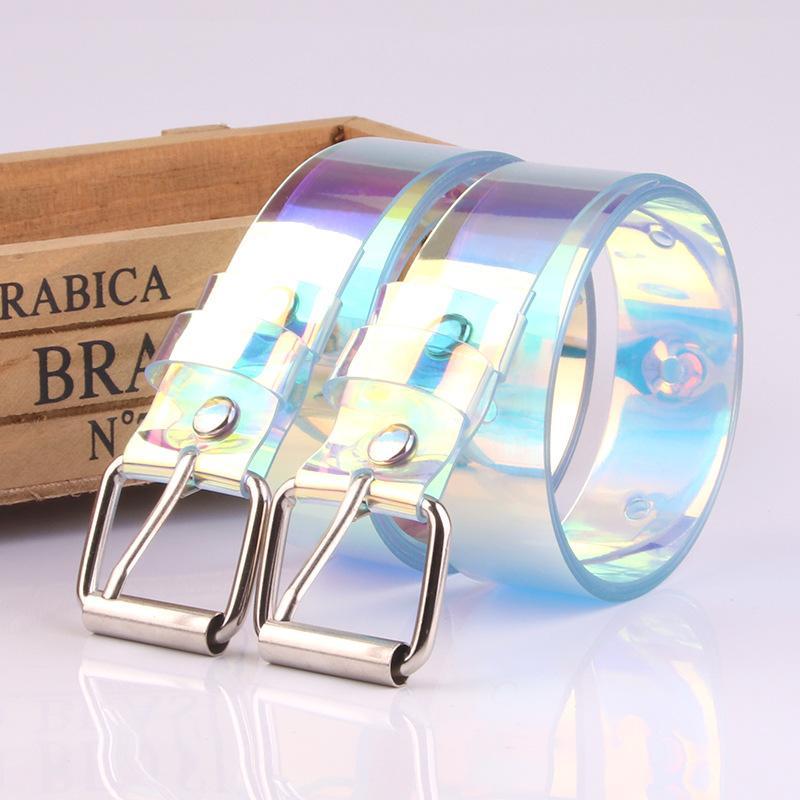 Cintura in plastica colorata 2.3 * 90-120CM studente Cinture con fibbia ad ardiglione Cintura da donna Cintura da donna Cinture con cinturino in jeans per regalo di Natale