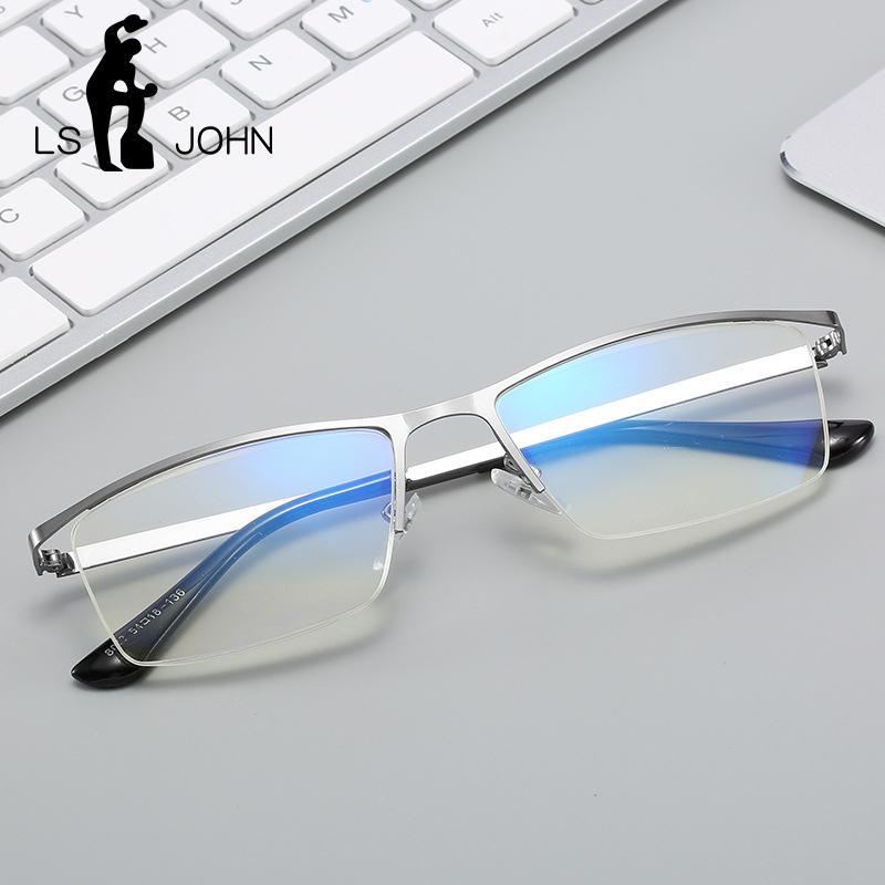LS JOHN 2020 Yarım Çerçeve Okuma Gözlüğü Erkekler Kadınlar Karşıtı Blue Ray Metal Presbiyopik Gözlük Hipermetrop Gözlük 1,0-4,0