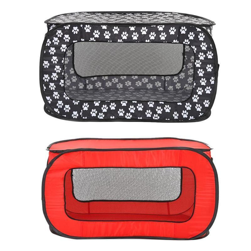2019 1 PC Portable Folding Rectangular Pet Tent Dog Cage Playpen Fence Puppy Kennel Black/Red Cloth Pet Tent Products