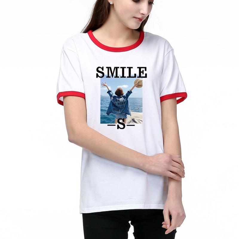 Women's T-Shirts 2020 New Womens Fashion SMILE & Girl Pattern Short Sleeves T-shirt Casual Women Breathable Tee 2 Color Size S-2XL