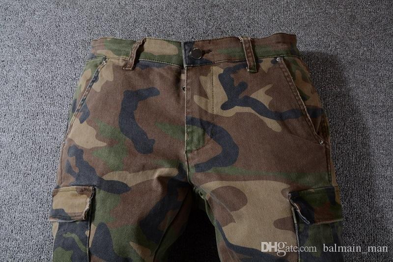 Мужские камуфляжные джинсы новый летний модельер мужские рваные известный бренд байкер повседневные брюки хип-хоп джинсы джинсы джинсовые длинные брюки размер 29-40