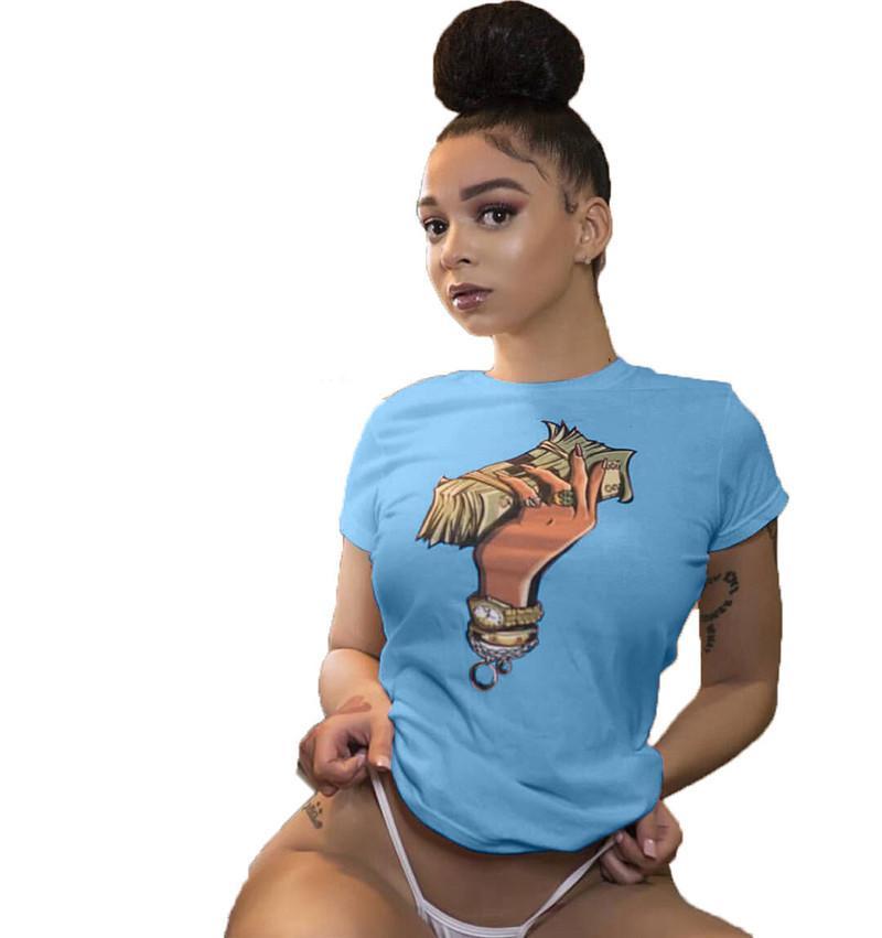 Доллар и ручная печать женщин дизайнера Tshirts Мода лето с коротким рукавом женщин тройники вскользь MULIT Стили Женщины Одежда