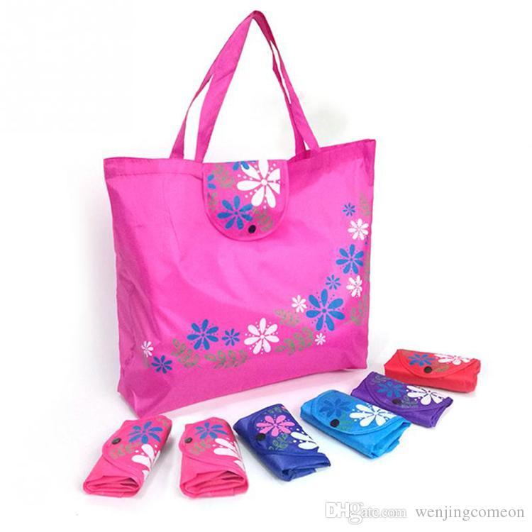 여성 접이식 쇼핑 가방 재사용 꽃 핸드백 대용량 옥스포드 천 캐주얼 식료품 가방 내구성 여성