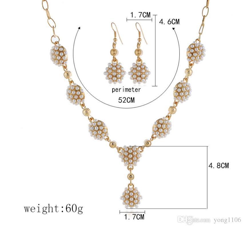 Tendencia de la moda euro-americana personalidad de hip-hop exquisito collar de perlas pendientes pendientes conjunto accesorios cadena de clavícula de la mujer ropa ac