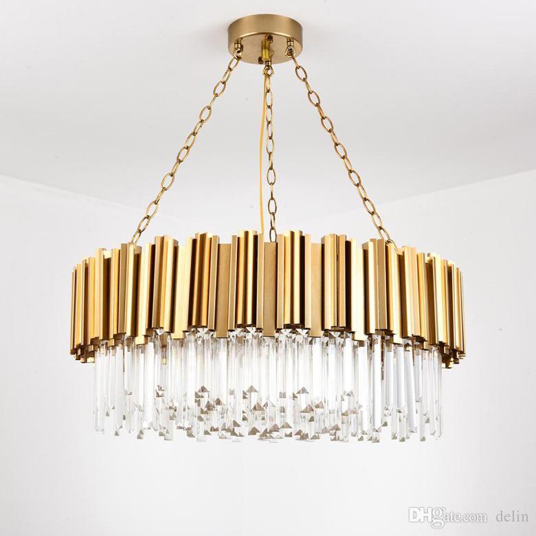 Lampadario per lampada a cristallo moderno per soggiorno Lampadari a catena in acciaio inox rotondo in oro di lusso AC100-240V