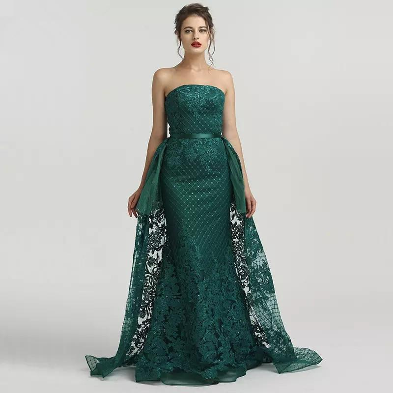 2019 vestiti sexy verde del merletto dal fodero di promenade da sera senza spalline Gowns Piano Lunghezza staccabili treno abiti partito formale