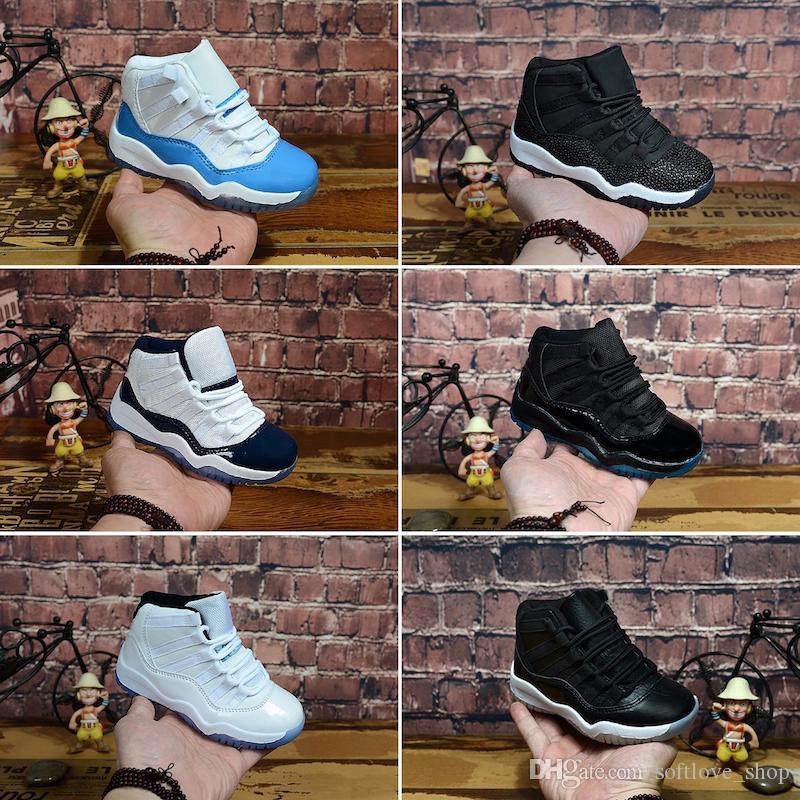 Nike Air Jordan 11 رياضة الأحمر الحادي عشر 11 طفل أحذية المربى الفضاء المربى أطفال كرة السلة حذاء كونكورد جم الأزرق أحذية مولود جديد الطفل الرضيع 11 ثانية