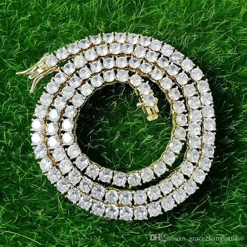 16 18 20 22 24 дюймов 4мм замороженные из цепи ожерелья Fow мужчин женщин роскоши дизайнер побрякушки алмаз ожерелье золота серебро тенниса цепь Jewlery