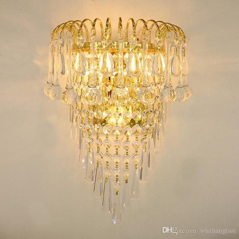 Klasik Kristal Avize Duvar Lambaları Işık Altın Kristallik Aplik Lambası LED Fuaye Oturma Odası Başucu Cam