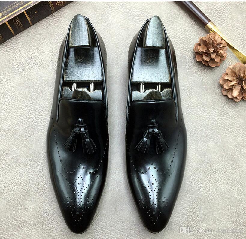 Qualitäts-Tassel Brogue Elegante Schuhe Männer Spitzschuh Entwerferkleidschuhe Breath Bräutigam-Hochzeit echtes Leder Schuhe da046