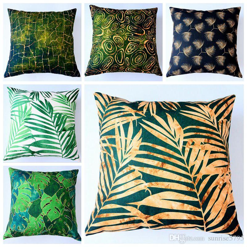 green summer decoration leaf cushion cover gold print sofa lounge throw pillow case nordic funda cojin decorative cojines