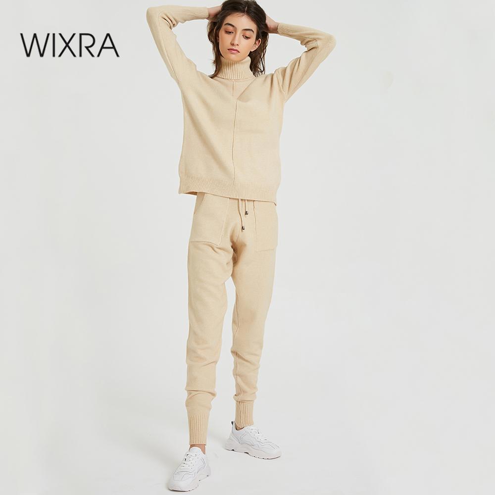 Abiti Maglione di Wixra donna e l'Imposta dolcevita a maniche lunghe lavorato a maglia Maglioni + tasche pantaloni lunghi 2PCS set di costumi inverno T200128