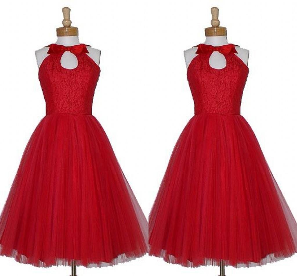 Vermelho elegante na altura do joelho vestido da dama de Keyhole Neck Custom Made Plus Size A Linha Bow Vintage 1905 dama de honra vestidos curtos S