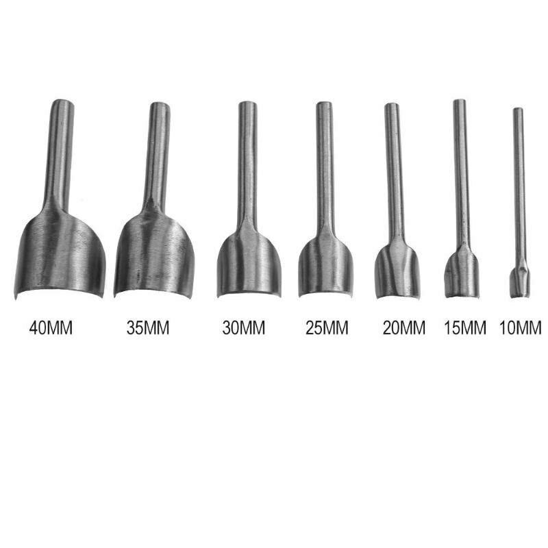 7pcs//set 10-40mm Leather Punching Tool Half-Round Cutter Punch Strap Tools DIY